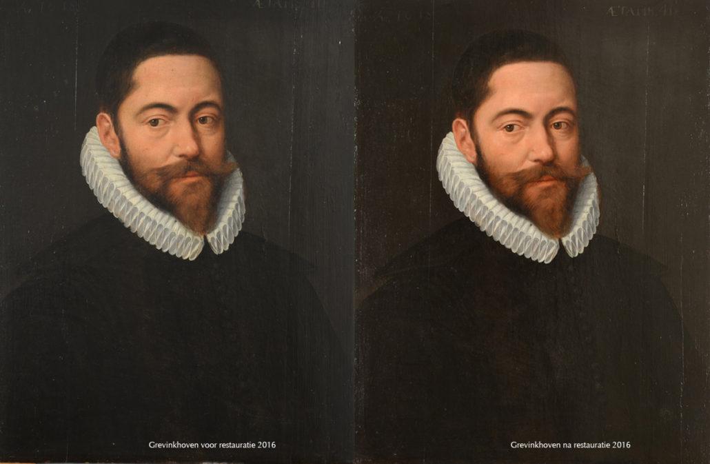 Grevinkhoven portret voor en na restauratie 2016