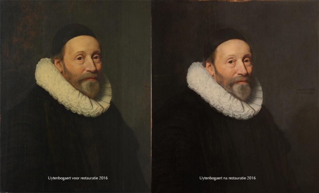 Uytenbogaert portret voor en na restauratie 2016
